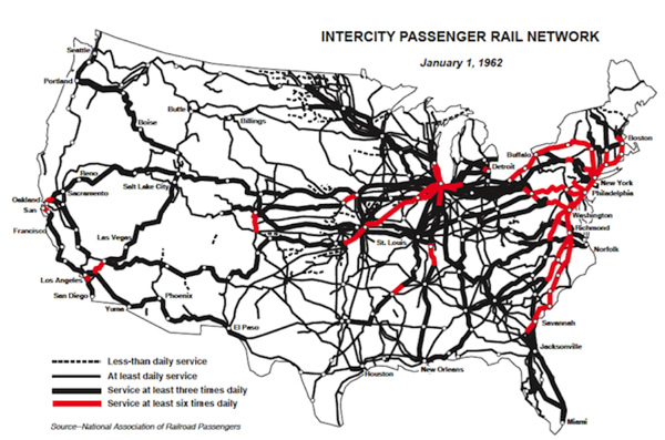 the first map shows that in 1962 intercity passenger rail network still covered 88710 route miles