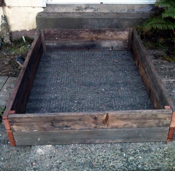 finished raised garden bed ready to be installed