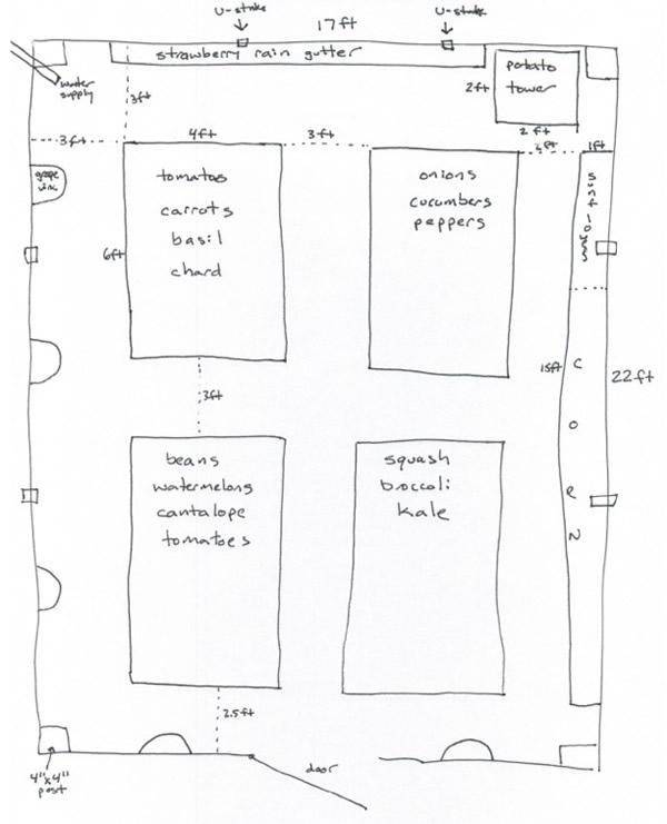 rough sketch of planned garden plants arrangement